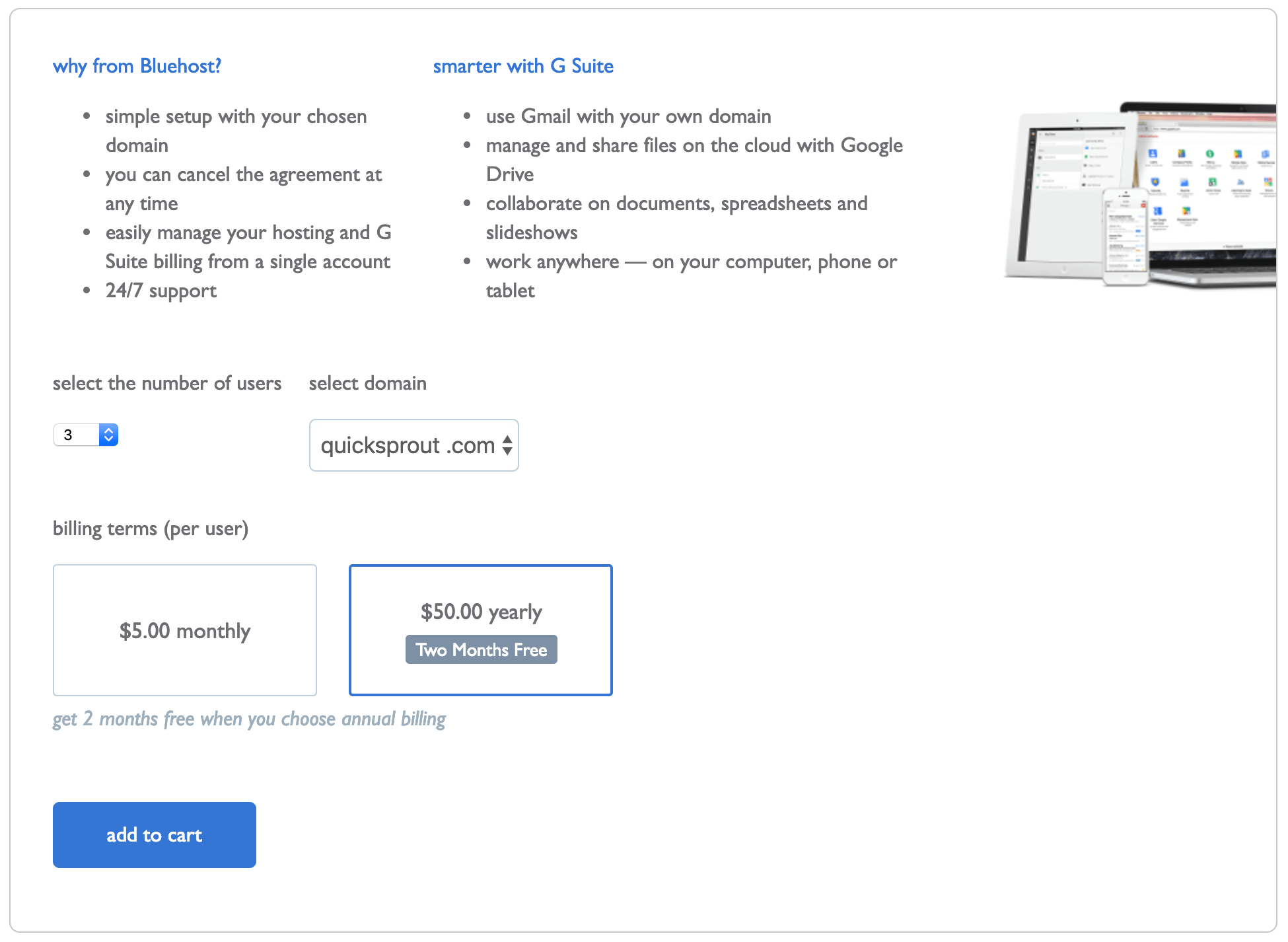 G Suite Pricing - Bluehost Annual Plan