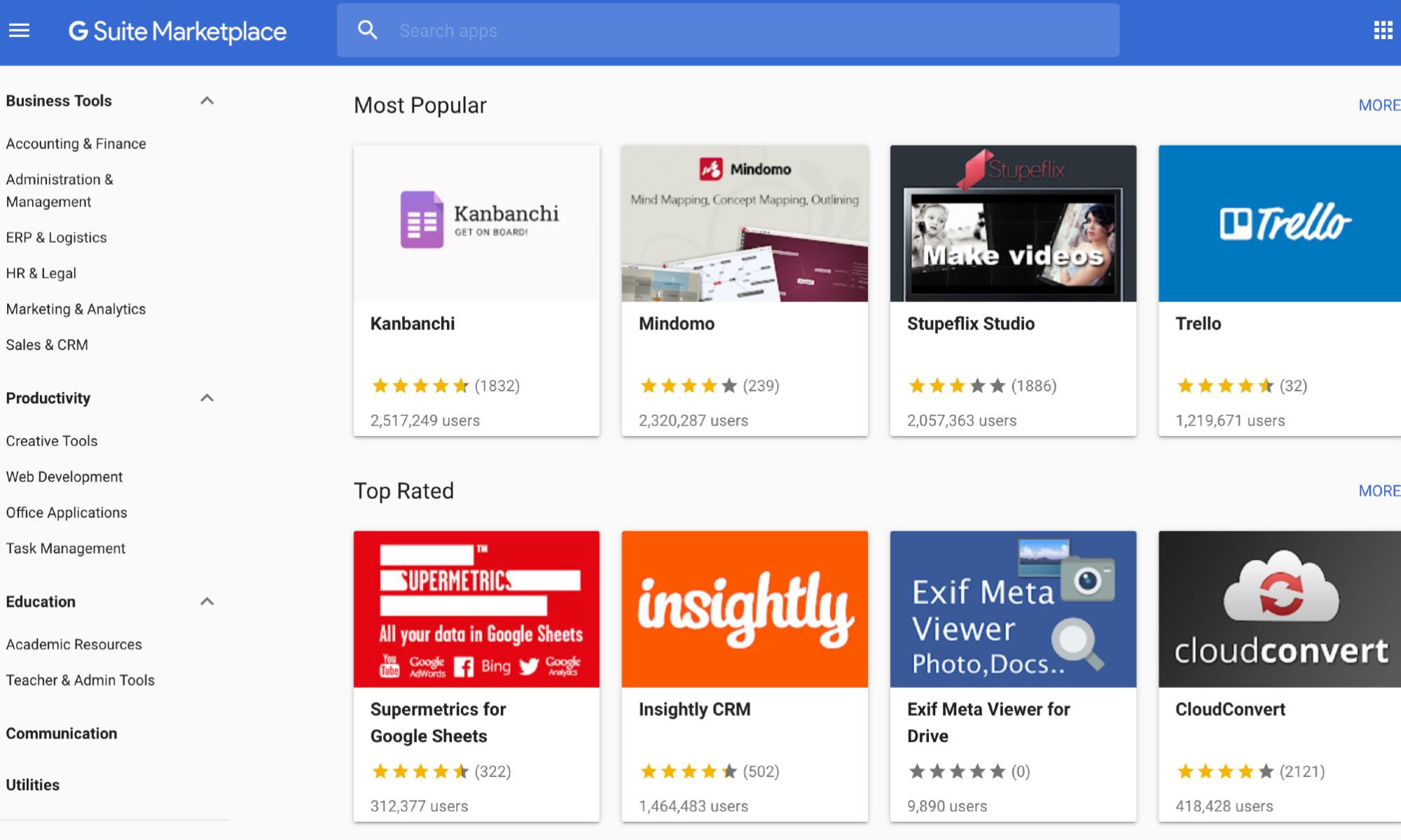 g suite marketplace free apps