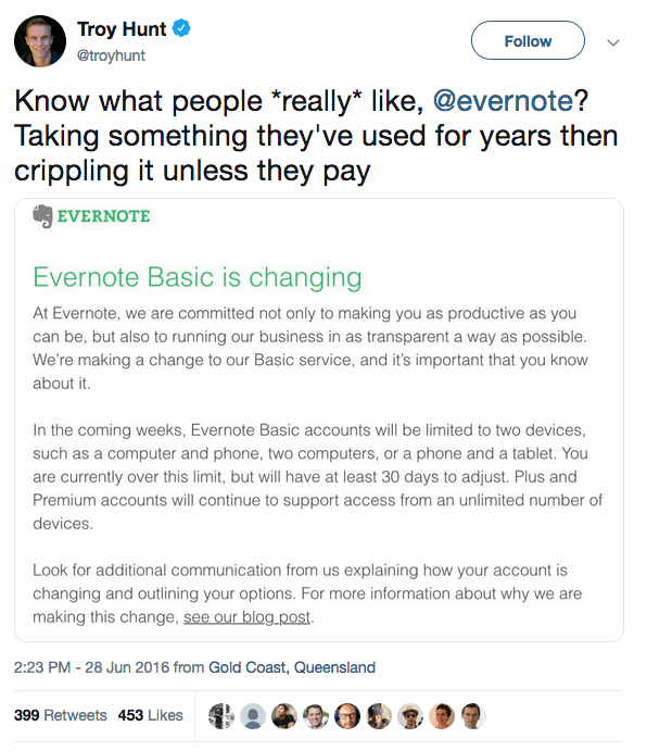 Evernote pricing changes