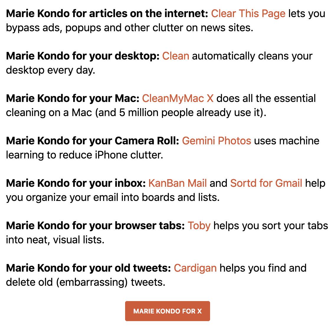 Marie Kondo for X