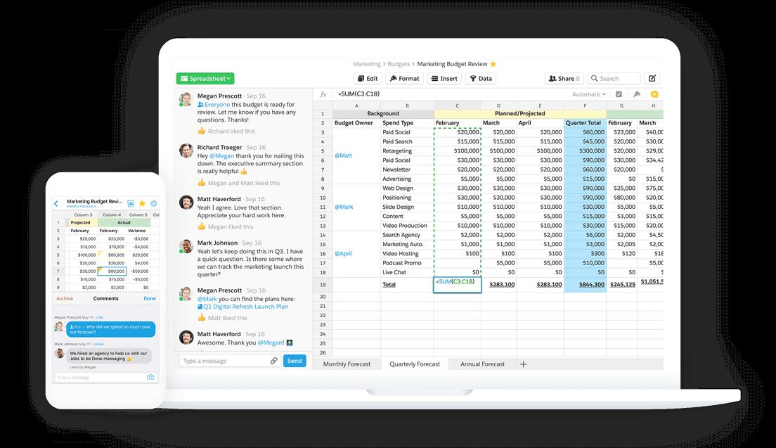 Quip spreadsheets