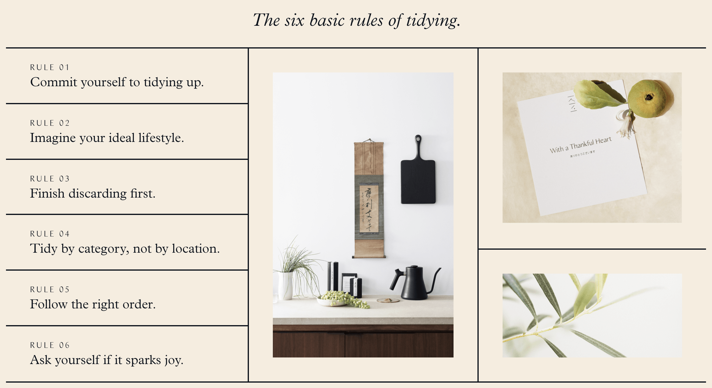 The six basic rules of tidying up