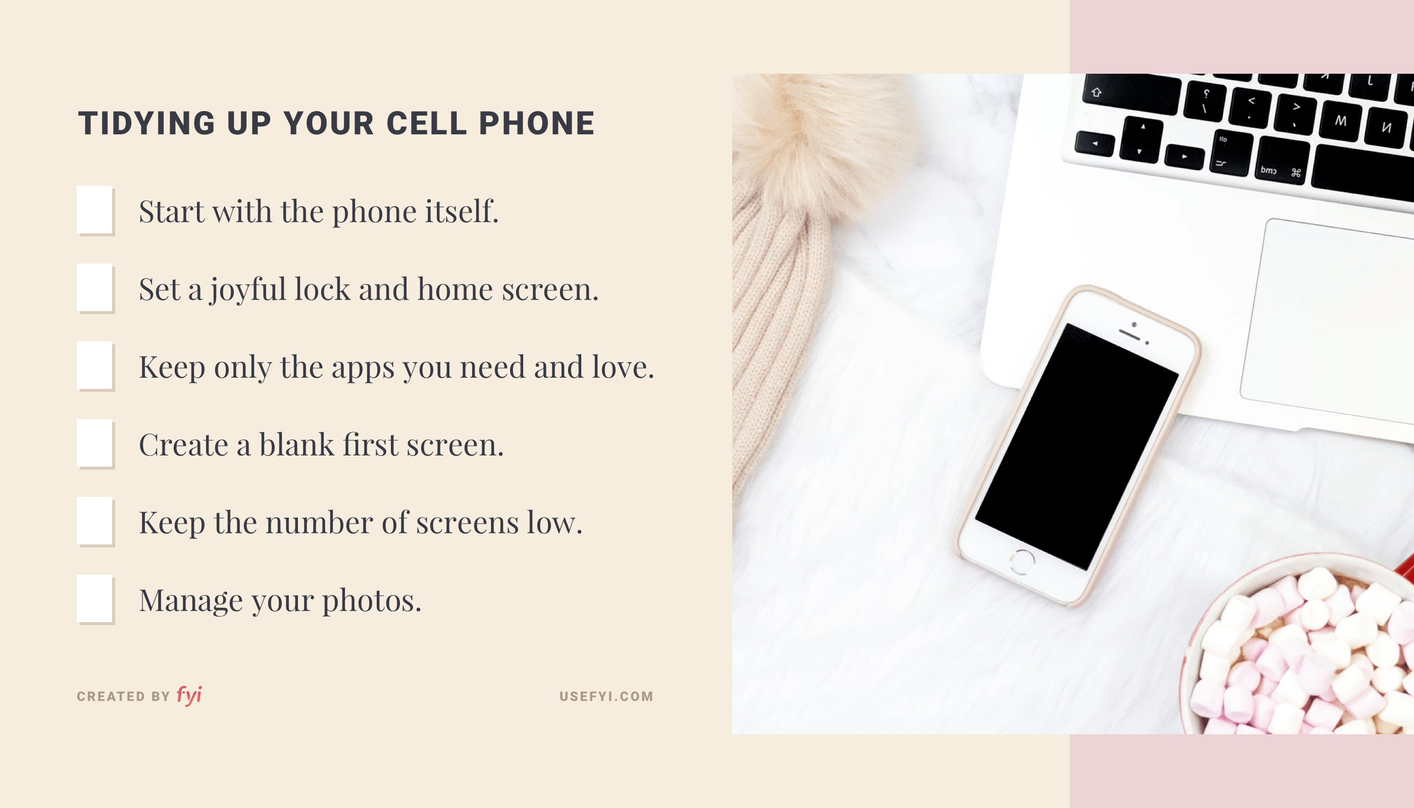 Tidying up your cell phone