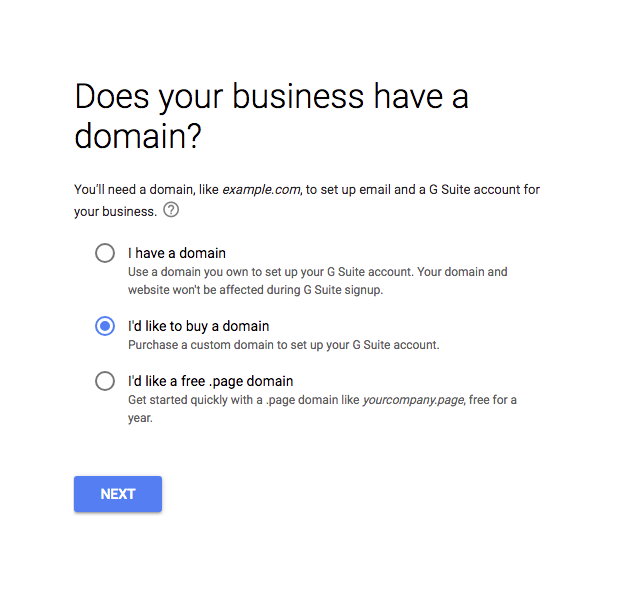 G Suite Signup Domain
