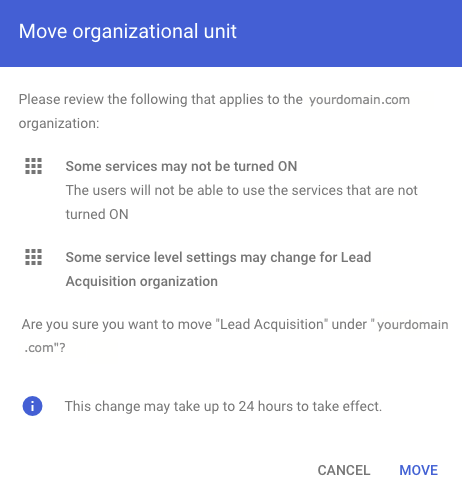 Confirm Organizational Unit Move