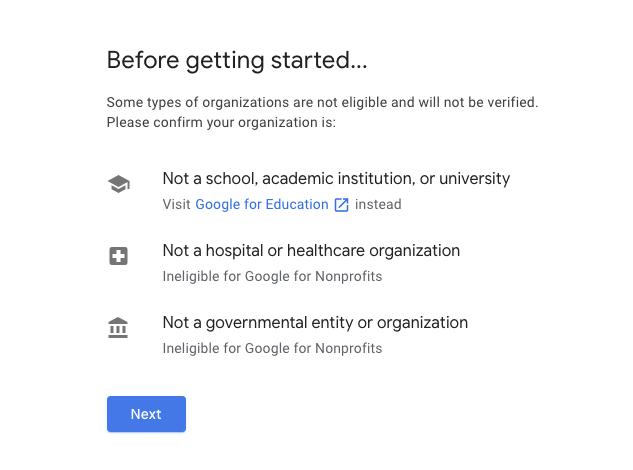Google for Nonprofits Eligibility