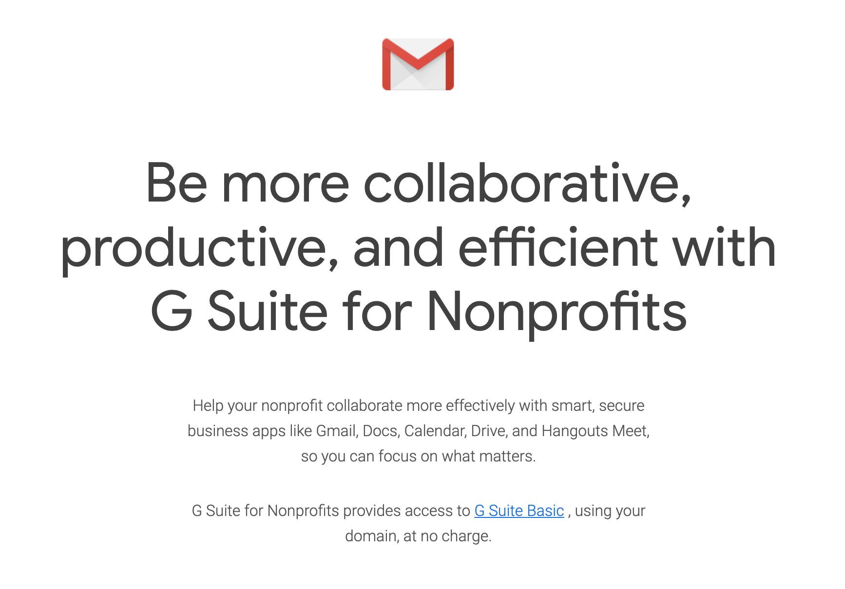 G Suite for Nonprofits
