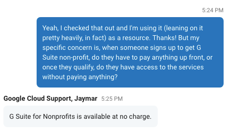 Google Nonprofit Free Support Response