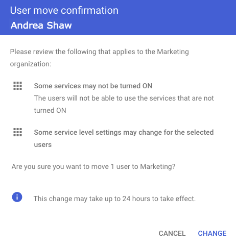 Confirm User Organizational Unit Change