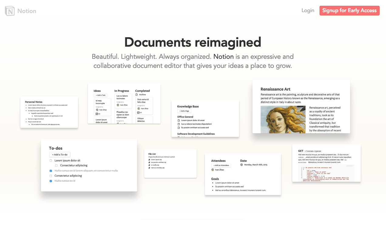 Notion document templates