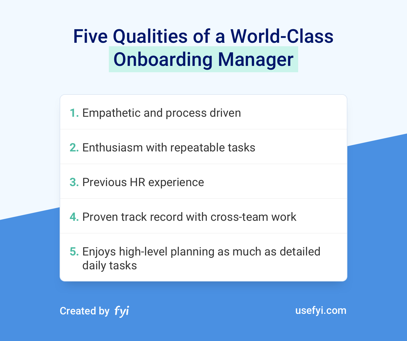 World-class Onboarding Manager Qualities