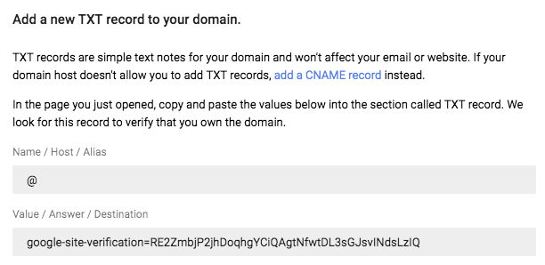 Add new TXT to domain