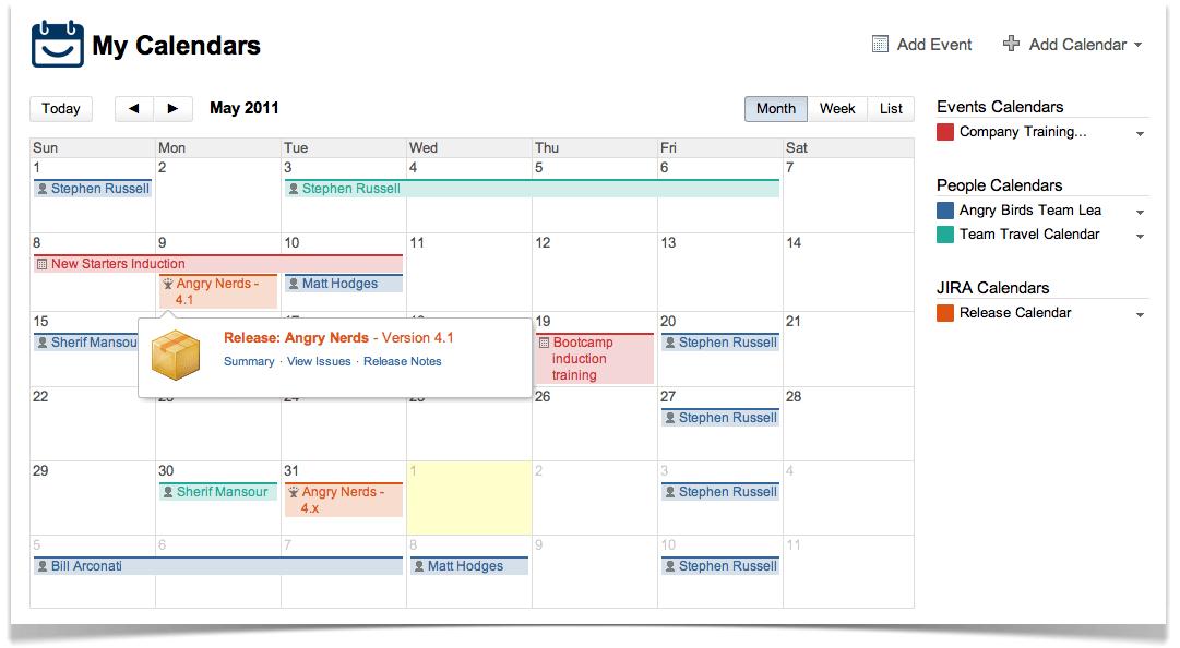 Confluence Team Calendars