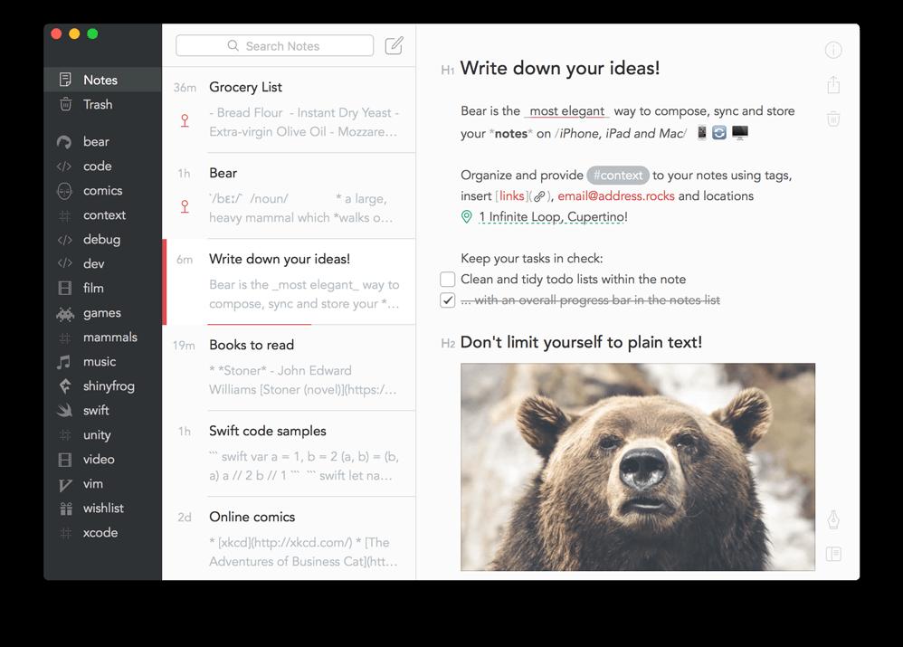Bear App Interface OSX