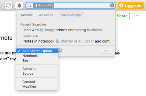 Evernote Desktop Search Field