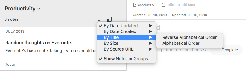 Evernote Notebook Organization Options Sorting