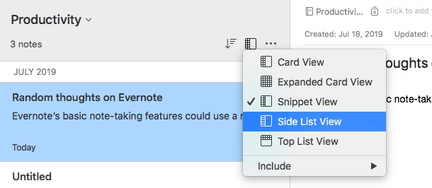 Evernote Notebook Views Card Expanded Snippet