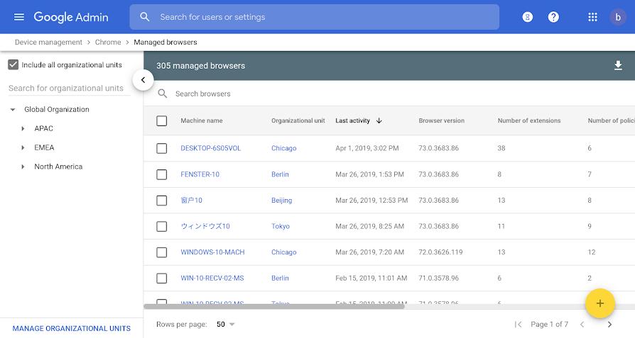 Google Chrome admin panel