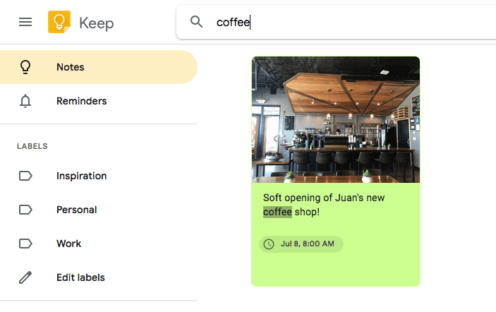 Google Keep Search Notes