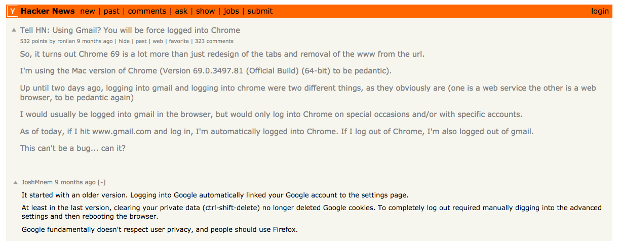 Hacker News comments