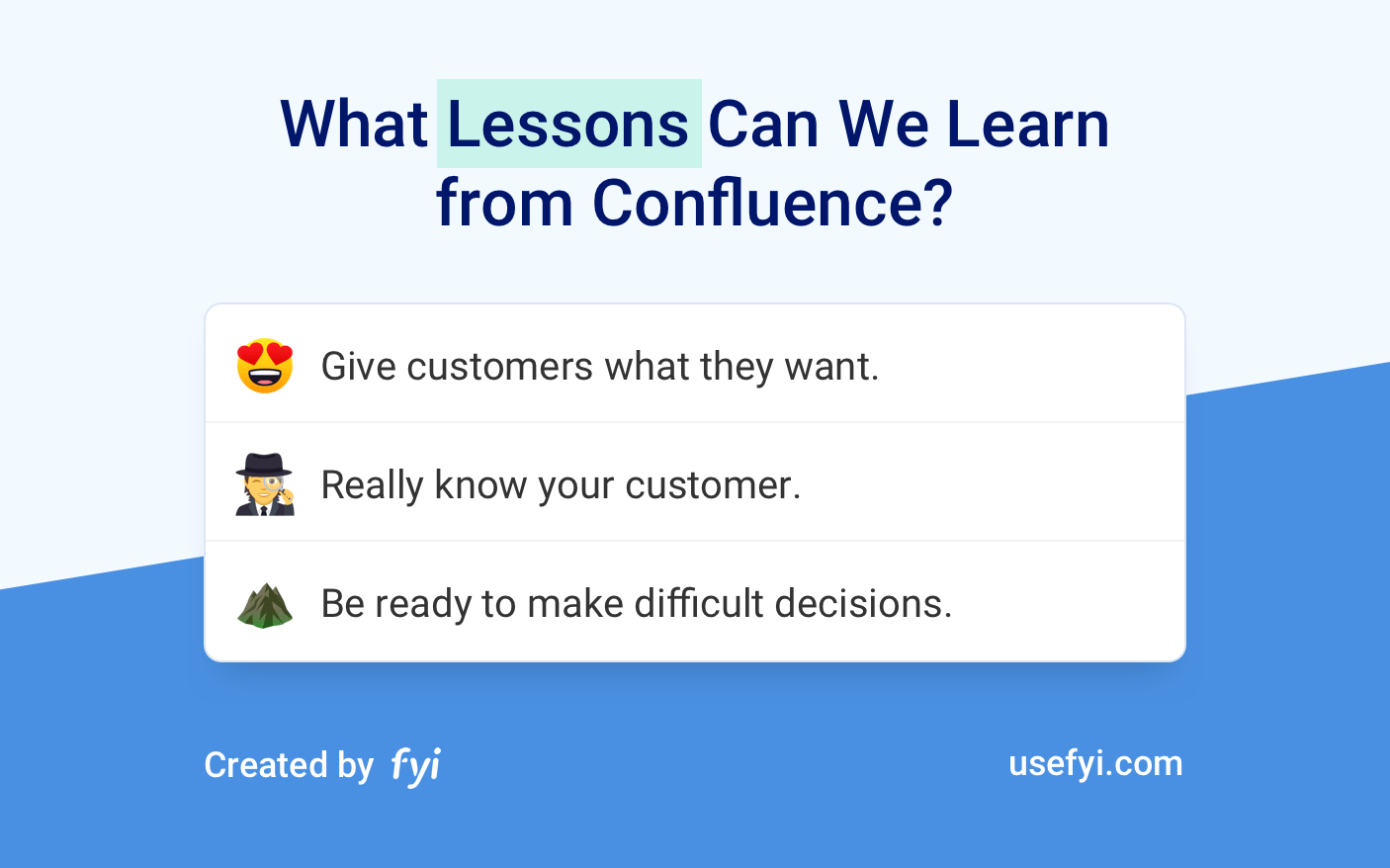 Lessons from Confluence