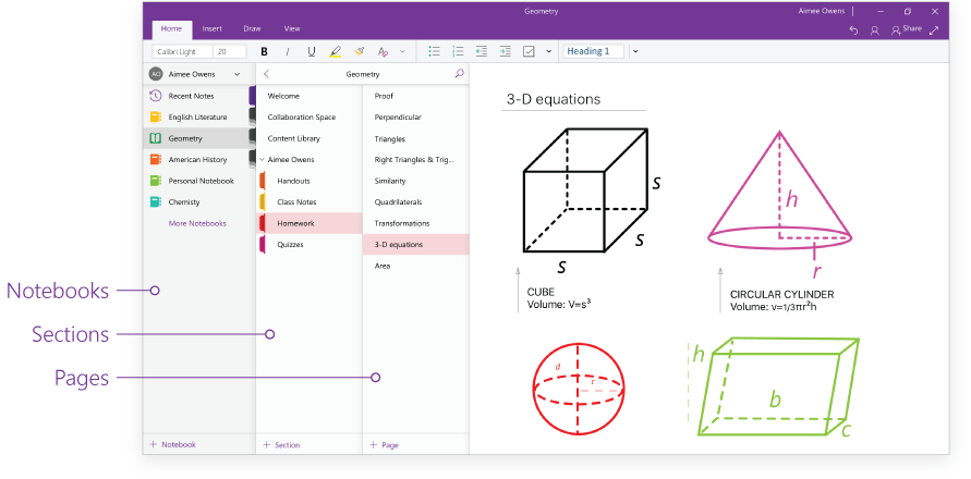 Microsoft OneNote Notebooks Sections Pages