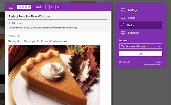 Microsoft OneNote Web Clipper Recipe Example