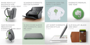 Evernote Merchandise Examples