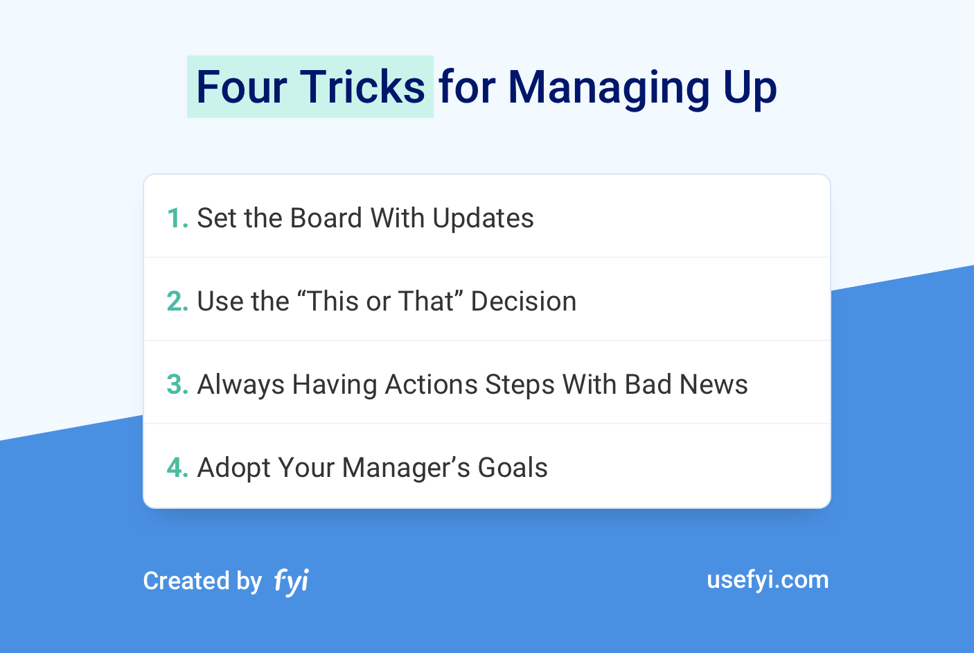 Four Tricks for Managing Up