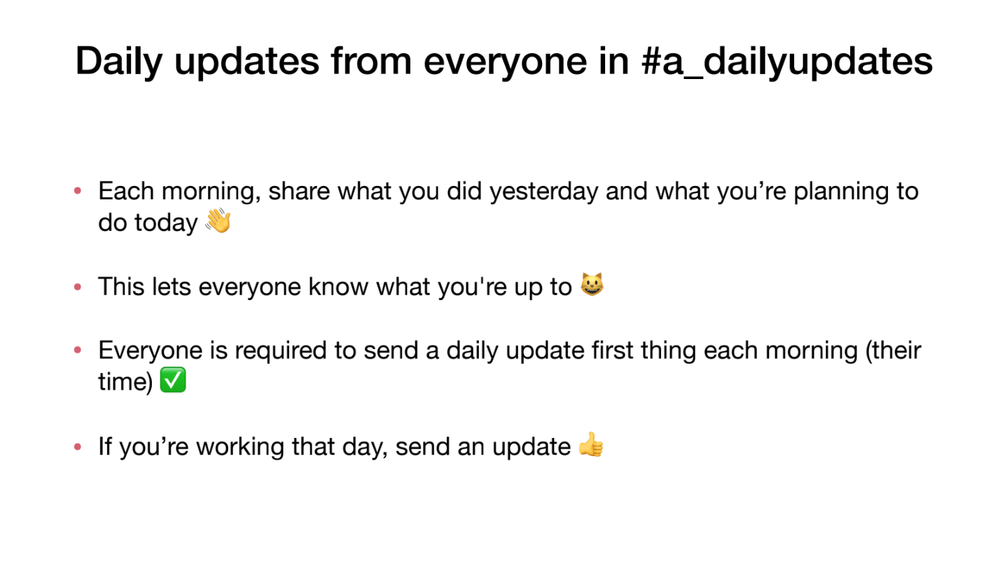daily updates remote work