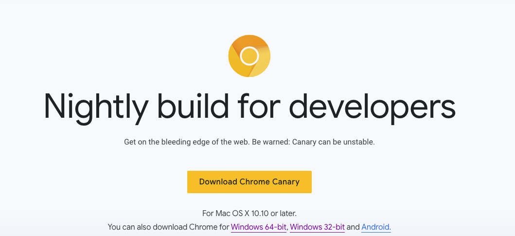 chrome canary download page