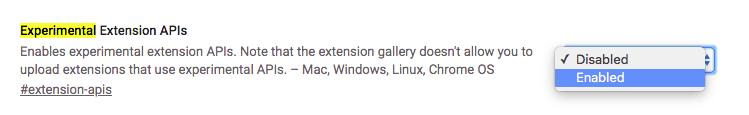 chrome canary Experimental Extension APIs