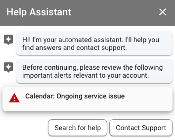 G Suite Support Help Assistant Chat Box