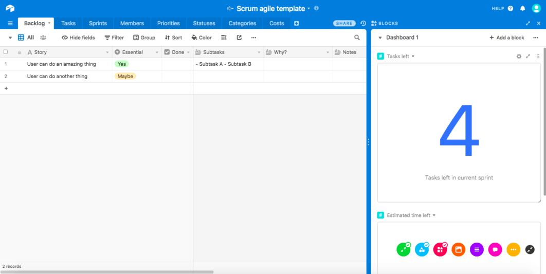 Screenshot of Airtable scrum board