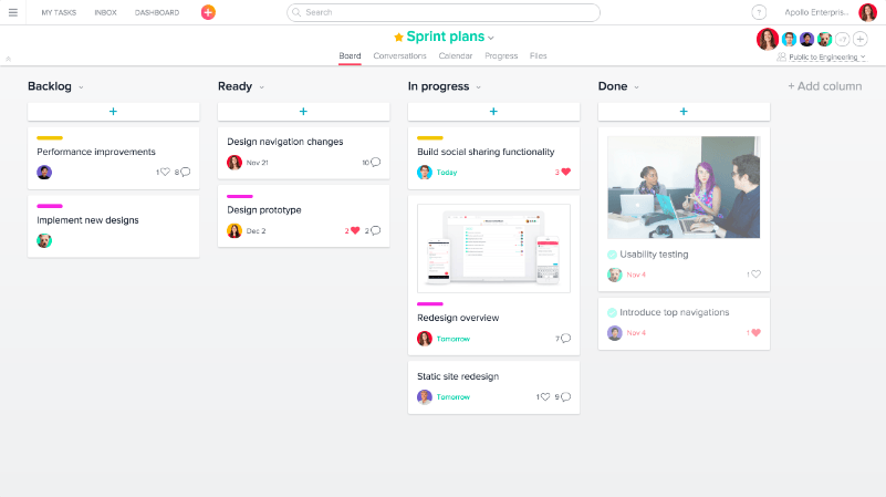 Screenshot of Asana scrum board