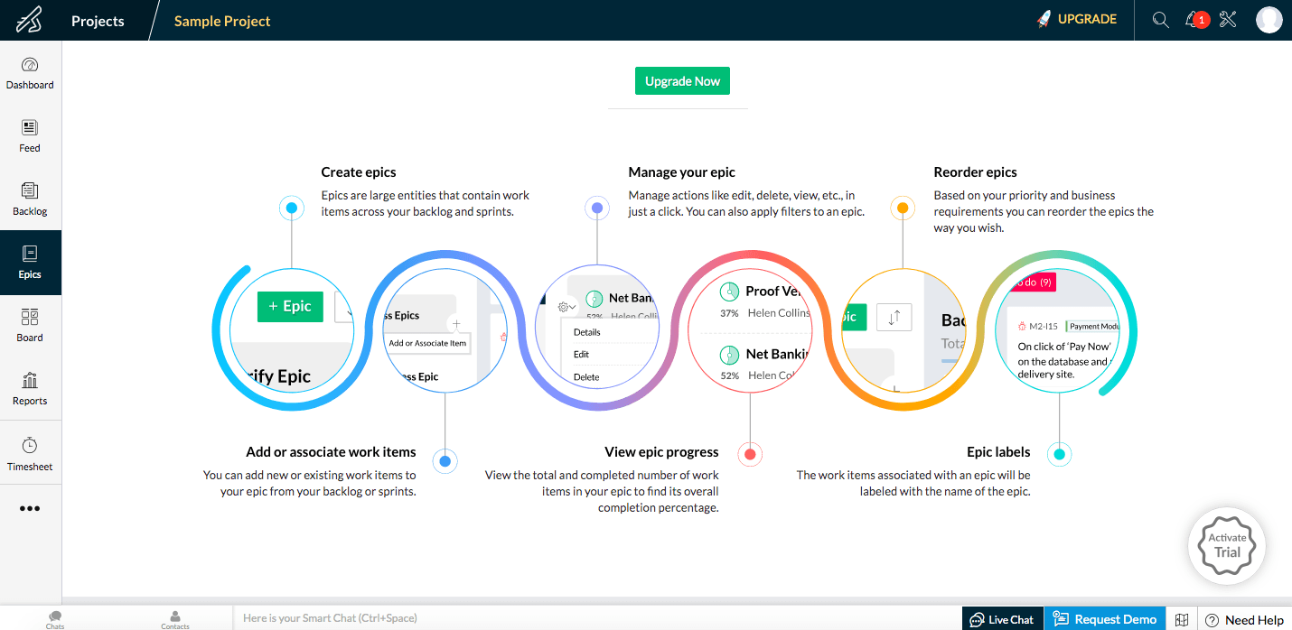 Screenshot of Zoho Sprints scrum board