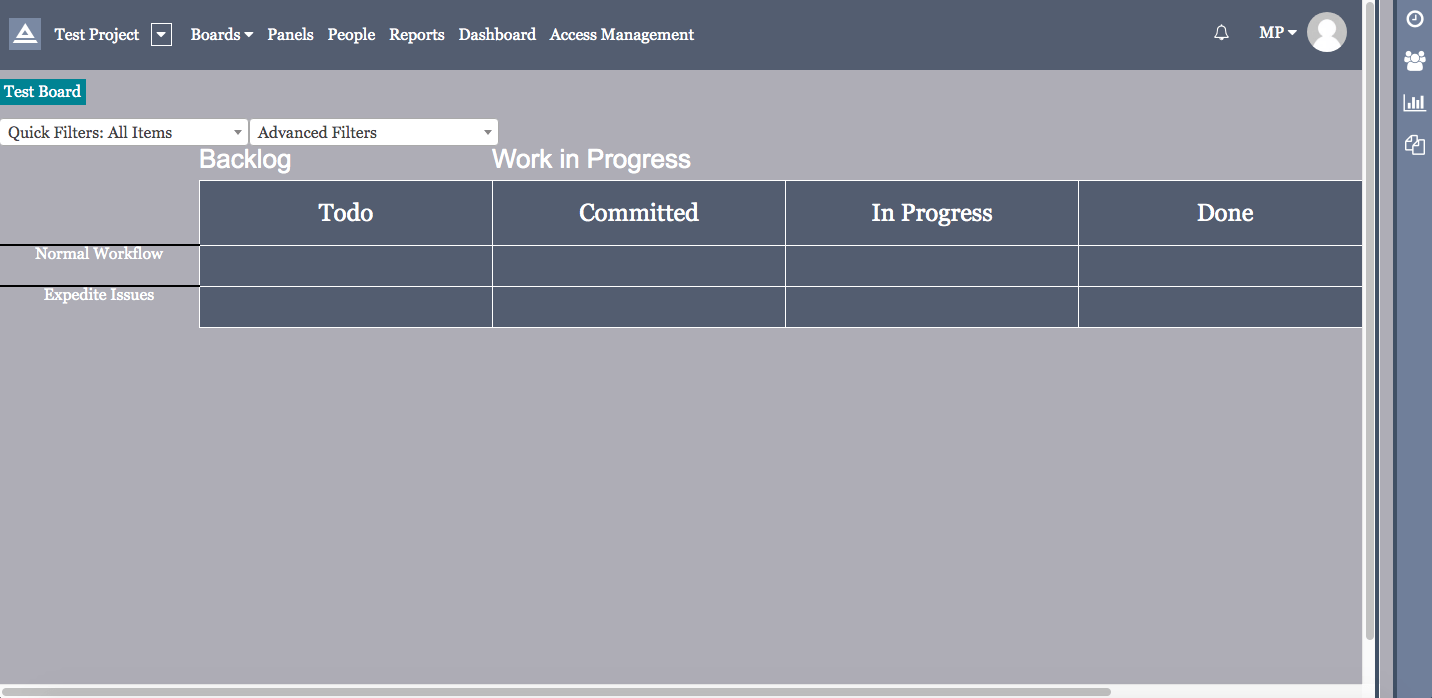 Screenshot of Apa scrum board