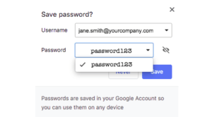 screenshot of save password prompt