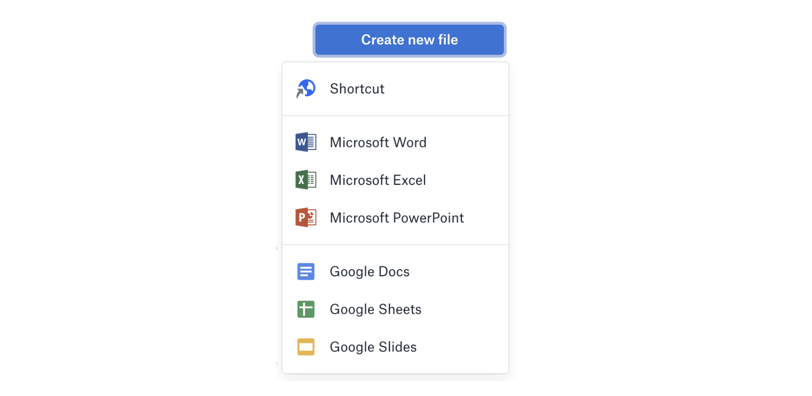 Dropbox Create New File