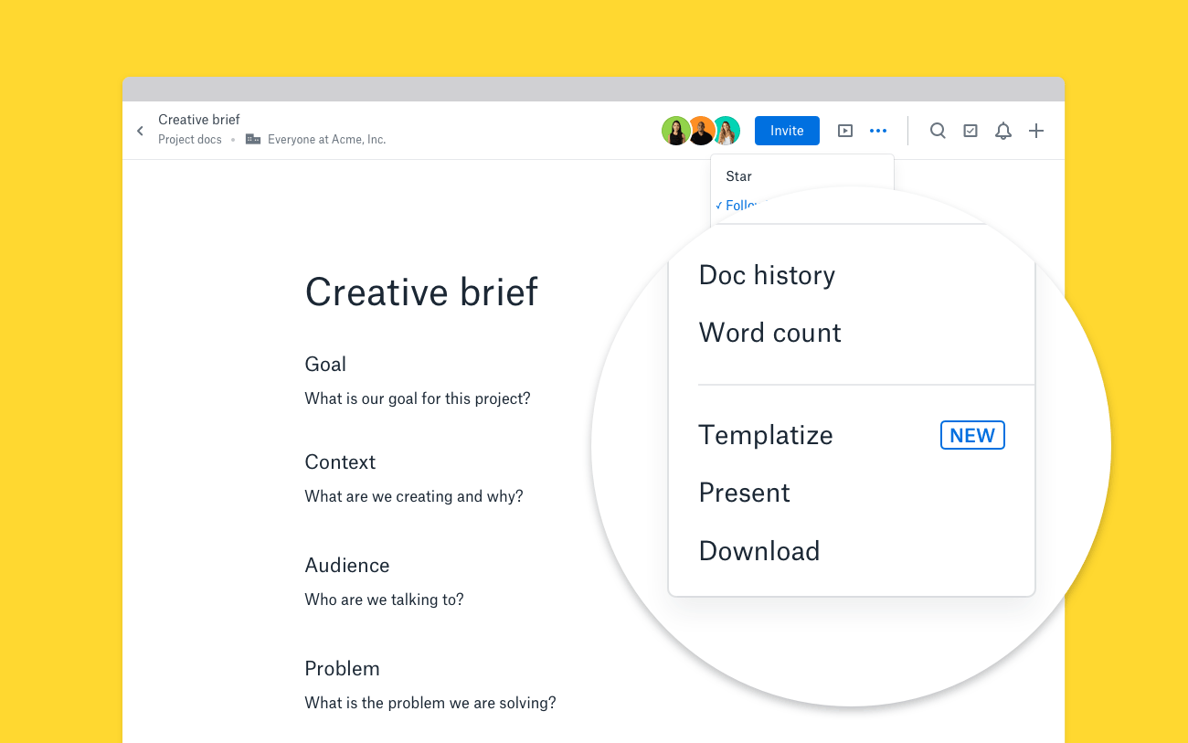 Dropbox Paper Templatize Button