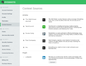 evernote premium context functionality