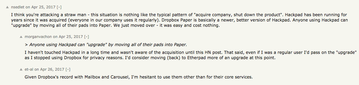 Hacker News Hackpad Closing Down
