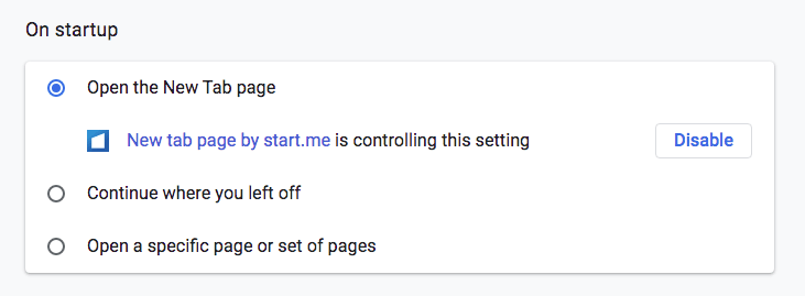 customize startup pages chrome setting
