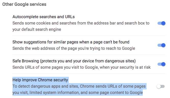 google services chrome setting