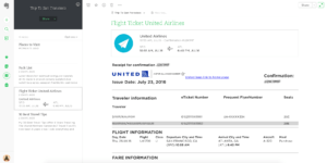 evernote for travel planning flight confirmation