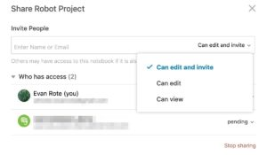 evernote share notebook permission controls