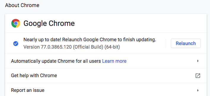about chrome menu screenshot