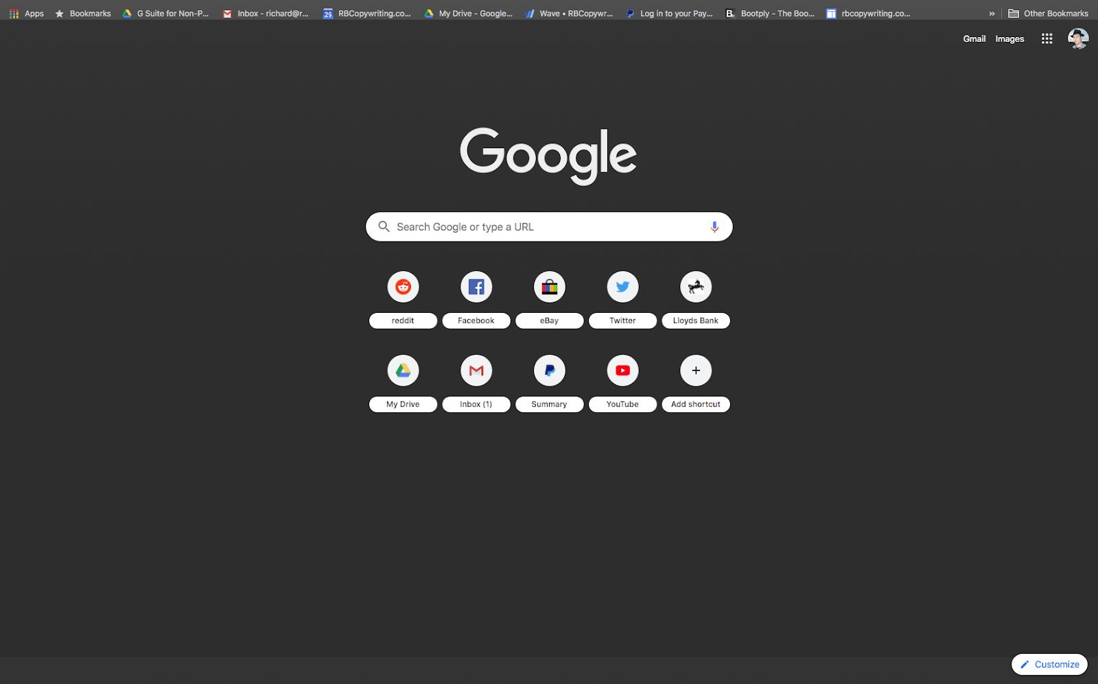 chrome dark theme screenshot