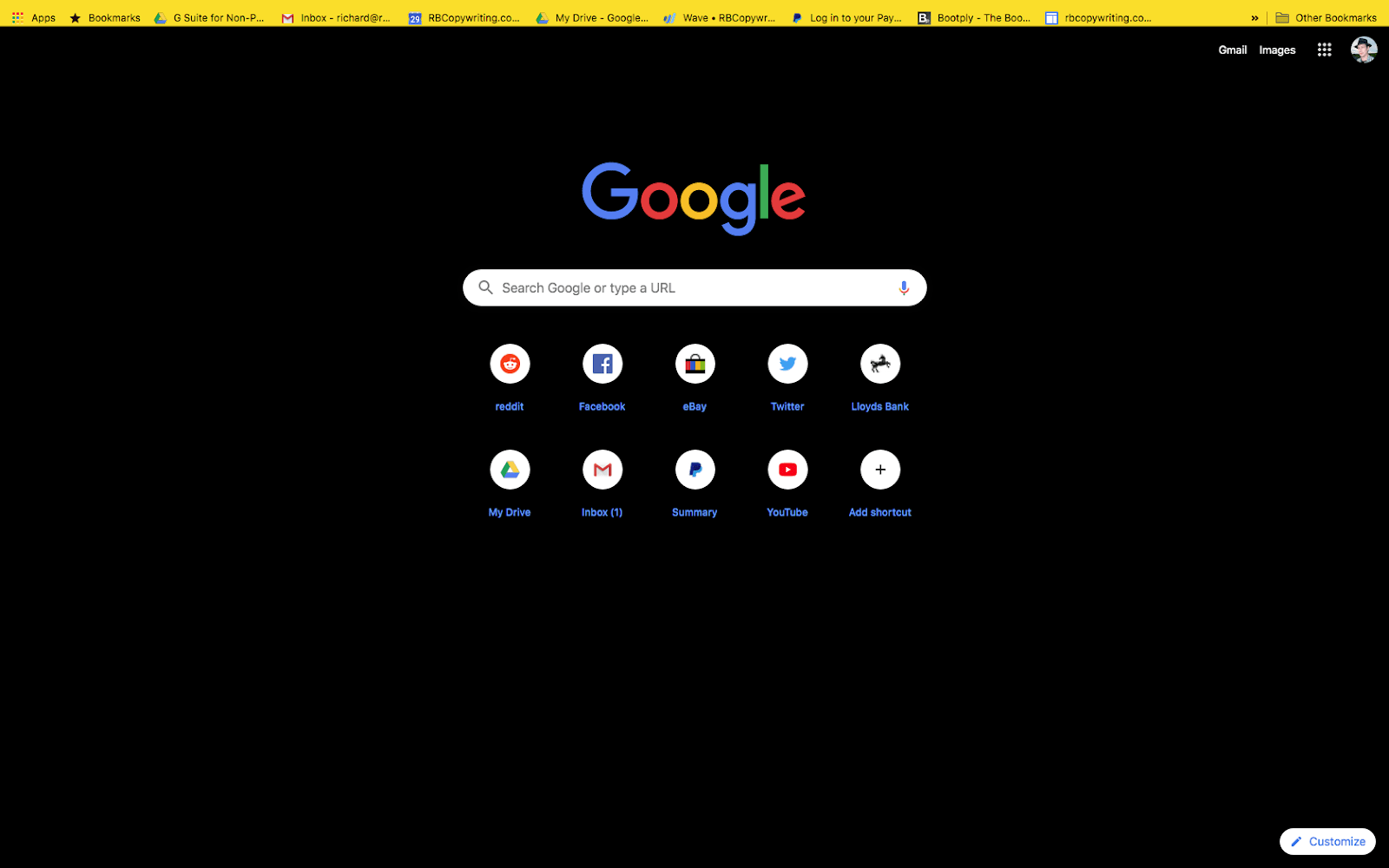chrome high contrast colorful theme screenshot