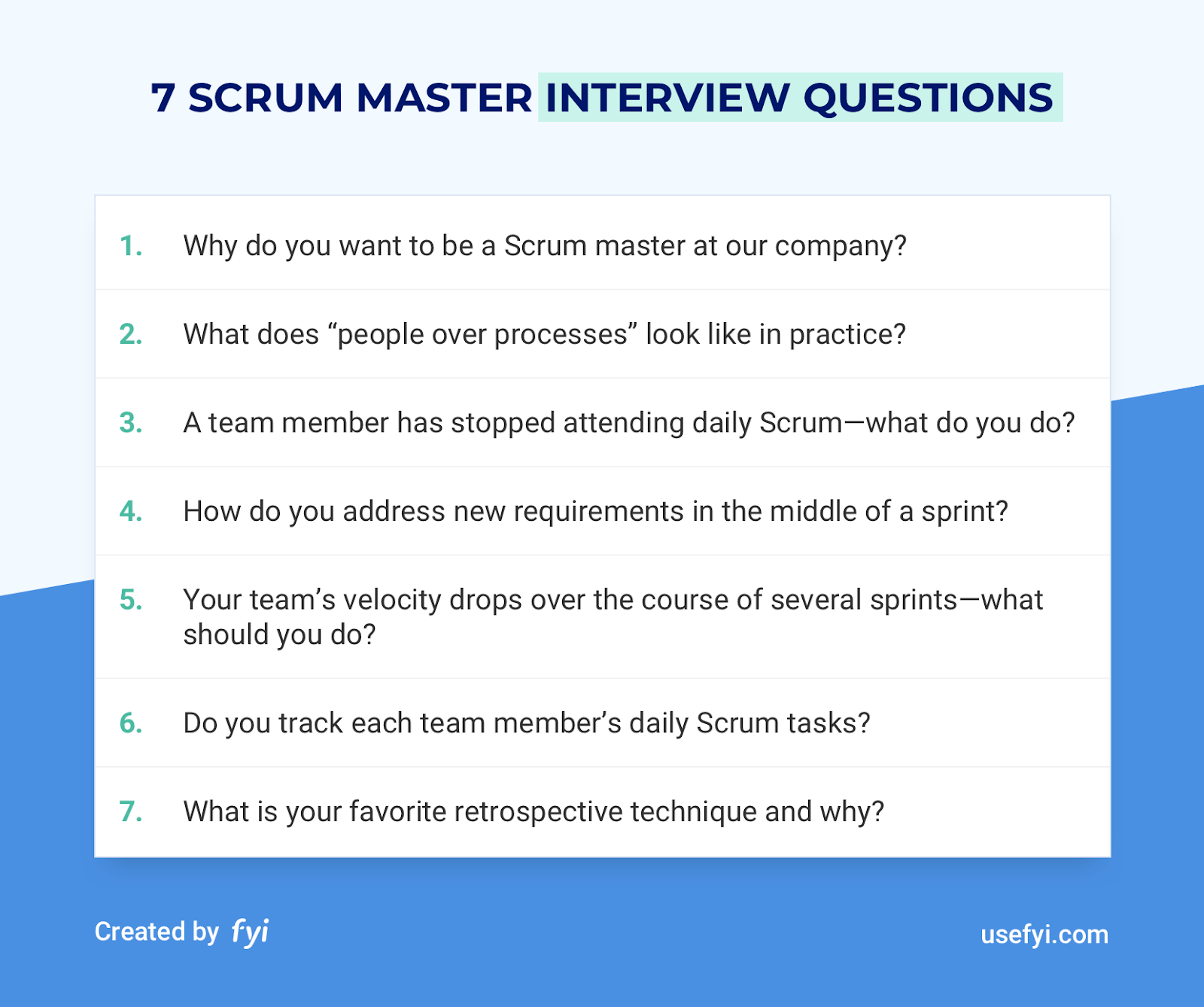7 key Scrum Master Interview Questions